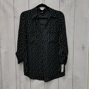 iZ Byer Black Casual Classic Button Up Blouse
